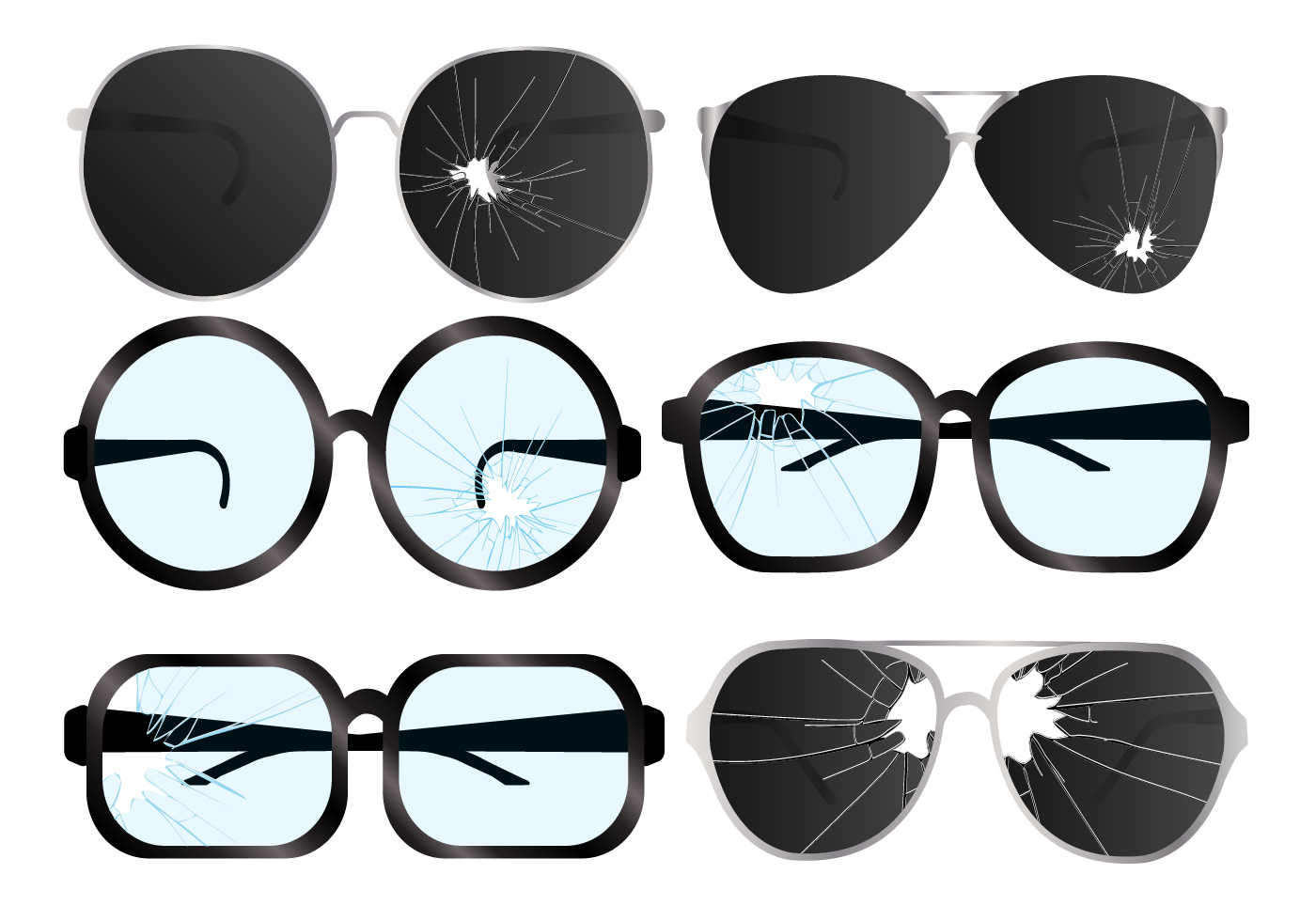 cracked glasses vector set download free vector art