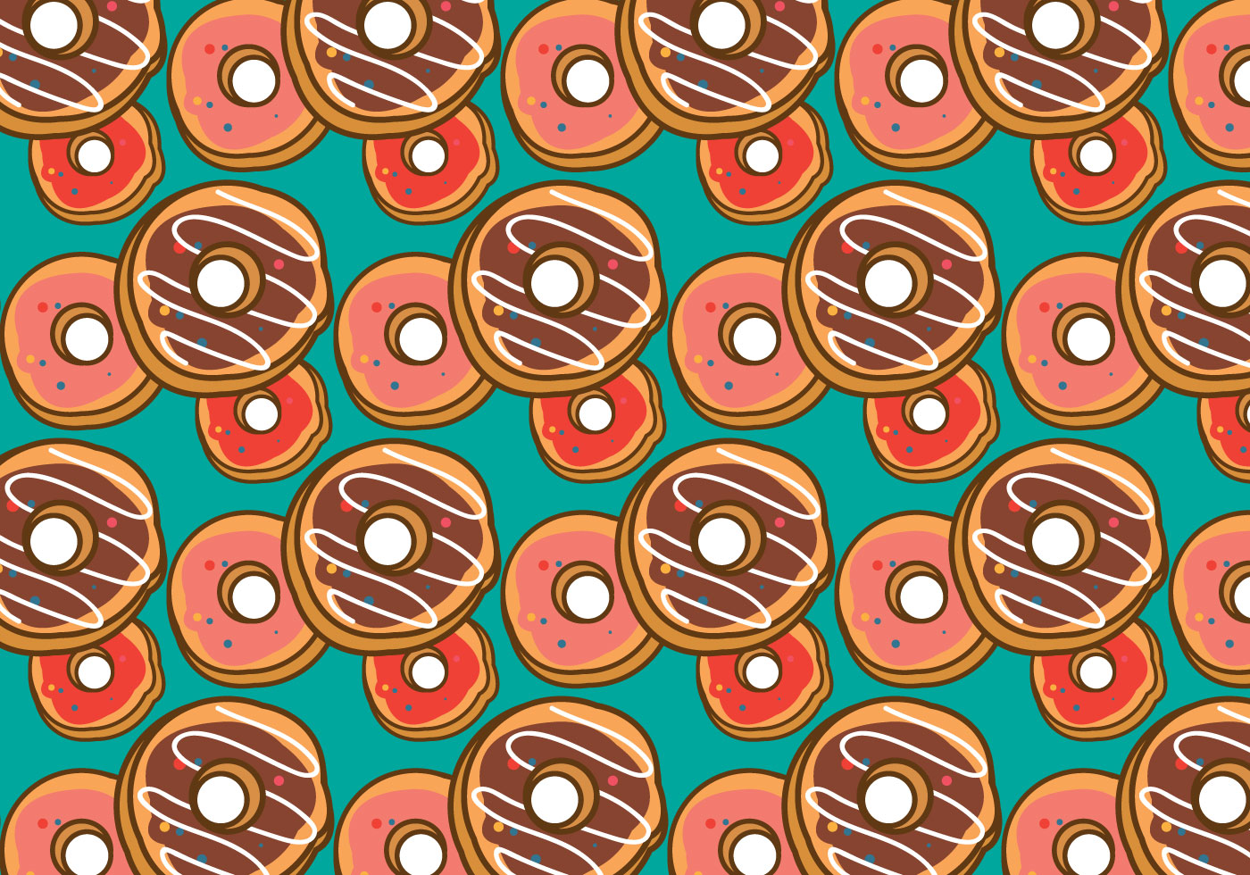 Download Free Vector Art Stock: Free Doughnut Pattern Vector