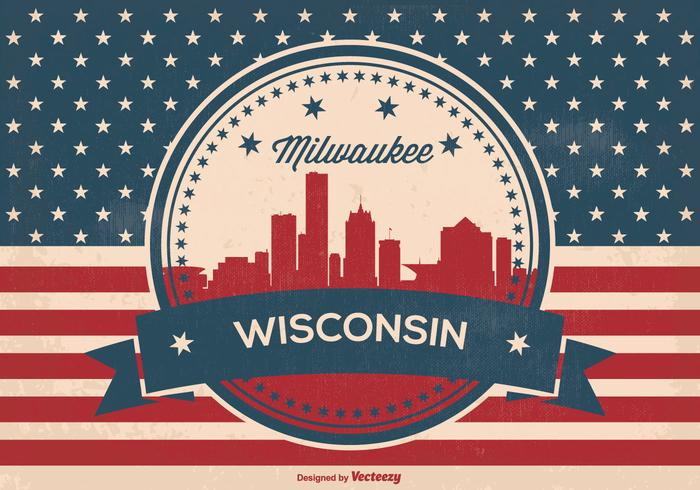 Retro Milwaukee Wisconsin Skyline Illustration