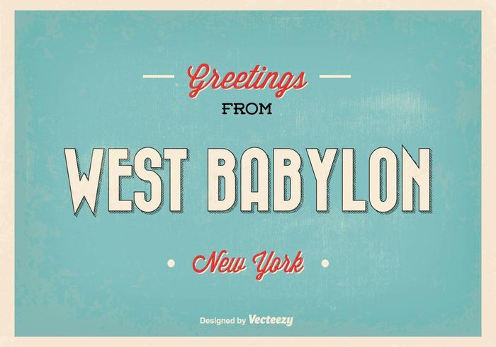 Retro Illustratie van West Babylon New York