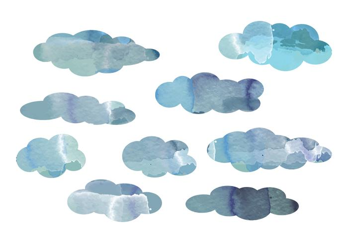 Vector Watercolor Cloud Elements