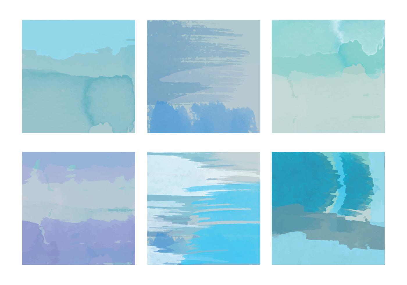 blue vector watercolor elements