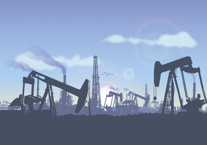 Oil Field Landscape Illustration Vector