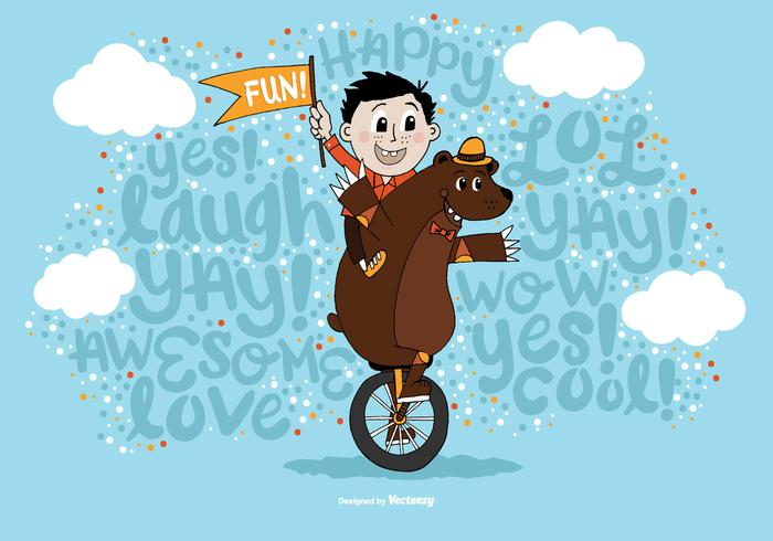Random Fun Boy & Bear Unicycle Vector