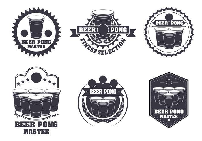 Öl Pong Etikett Vector Set