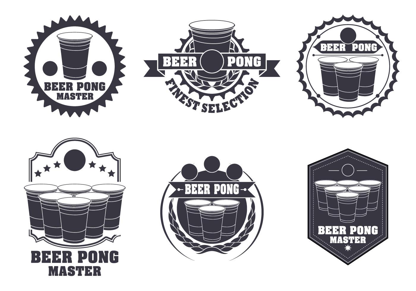 Beer Pong Label Vector Set Download Free Vector Art