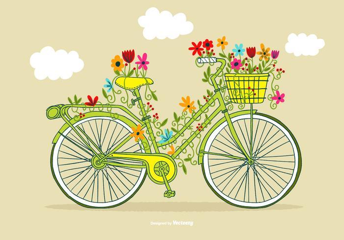 Vintage blomma cykel vektor