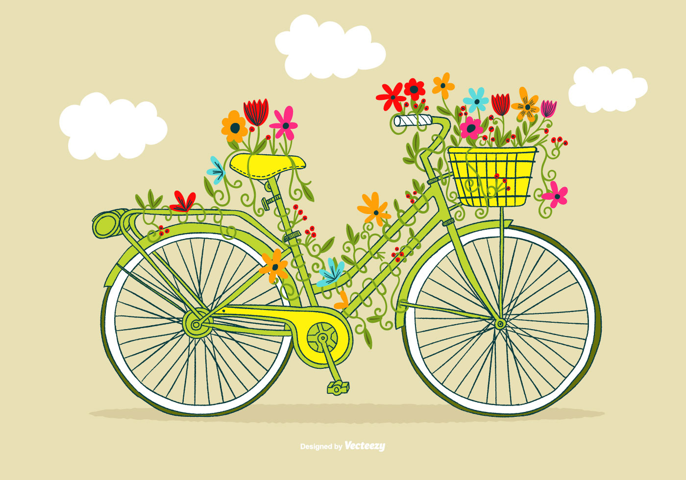 Vintage Flower Bicycle Vector - Download Free Vector Art ...