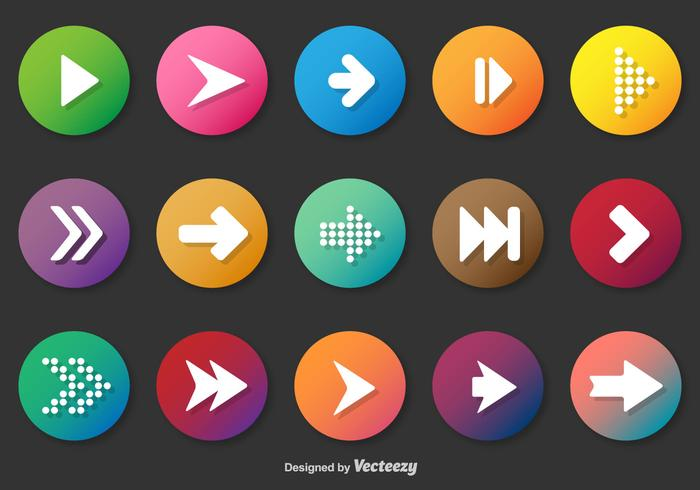Rounded Play And Next Vector Buttons