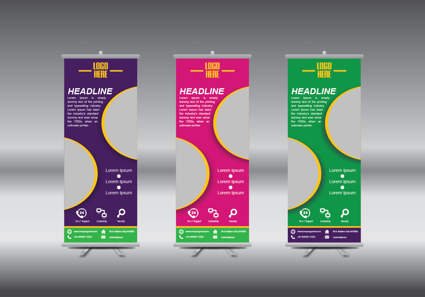 Blank Exhibition Stand Vector : Roll up banner abstract geometric colourful design
