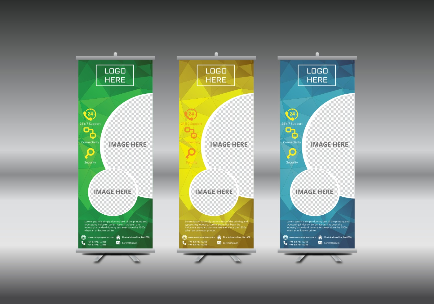 Blank Exhibition Stand Vector : Roll up banner template vector illustration download