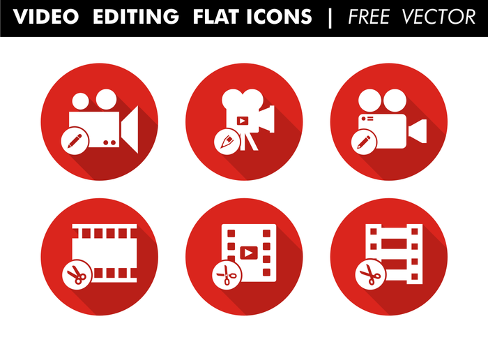 Video Editing Flat Icons Free Vector