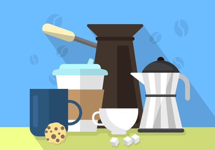 Platt kaffe illustration