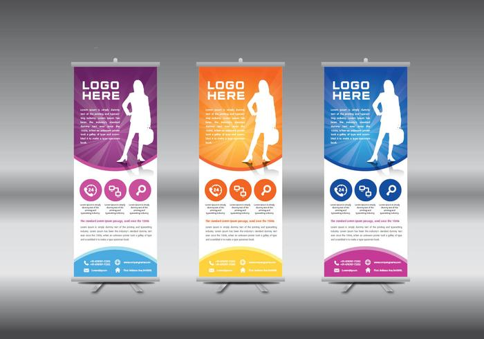 Roll Up Banner Template Vector Illustration Download
