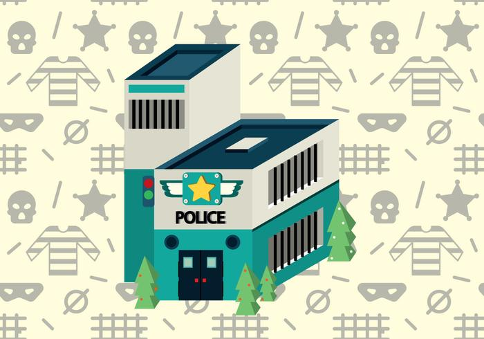 Free Police Office Isometric Vector