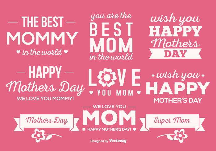 Cute Mother's Day Label Set vector
