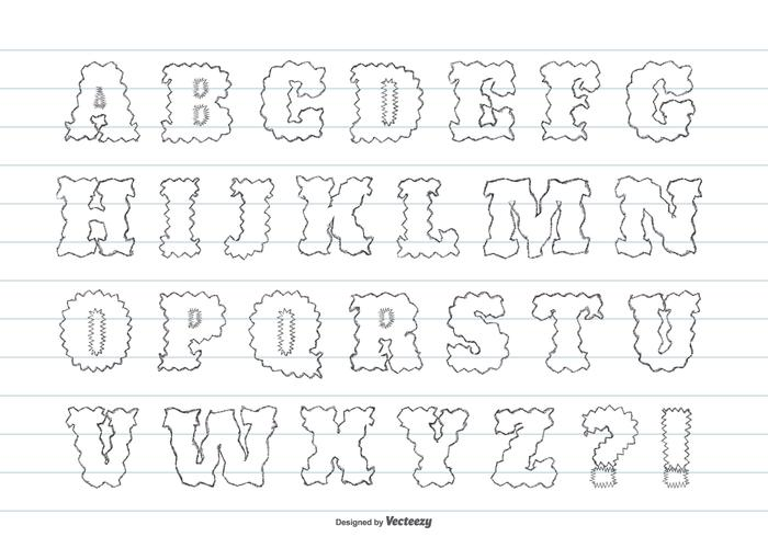 Gulligt Messigt Handritat Alfabet vektor