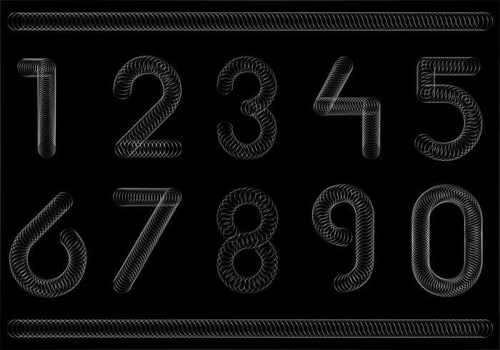 Gratis Slinky Number Font Vector