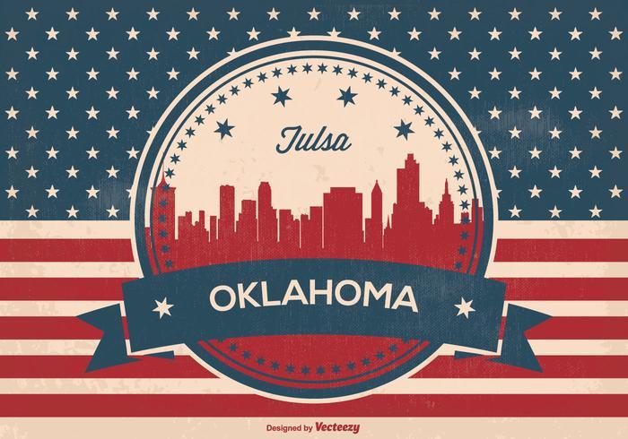 Tulsa Oklahoma Retro Skyline Illustration