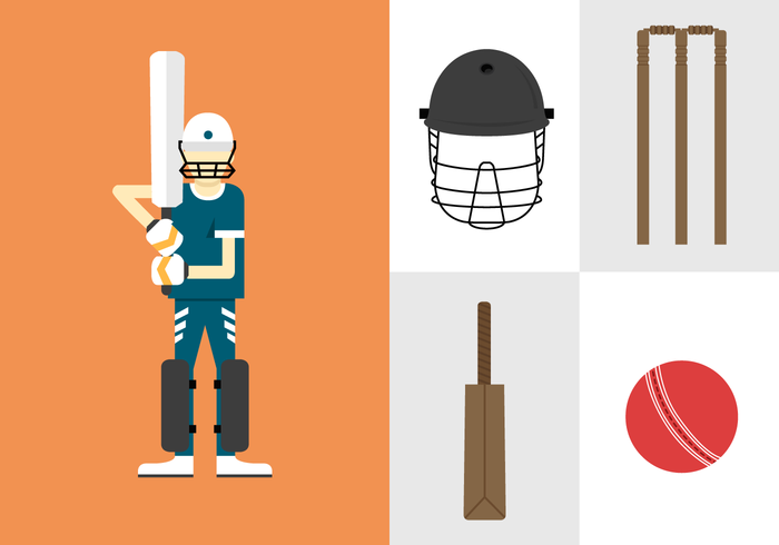 Cricket Player and Equipment Vectors