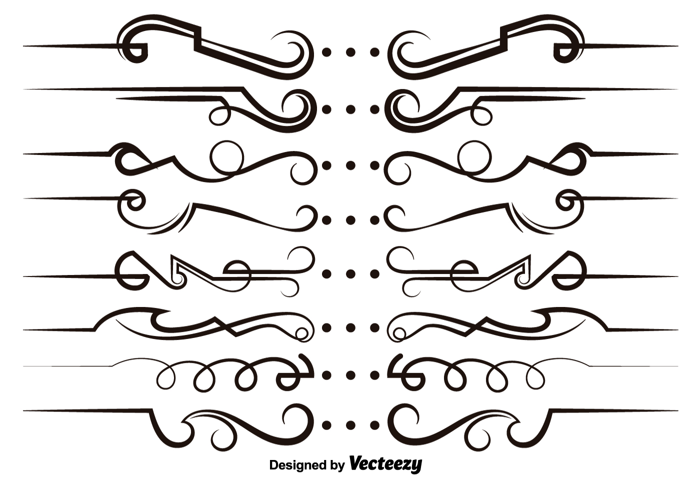 Vector modern scrollwork elements download free vector for Decorative scrollwork