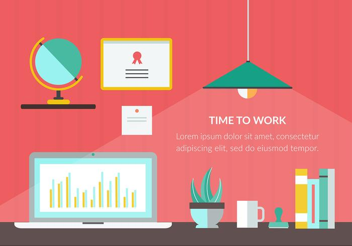 Free Time to Work Vector Illustration