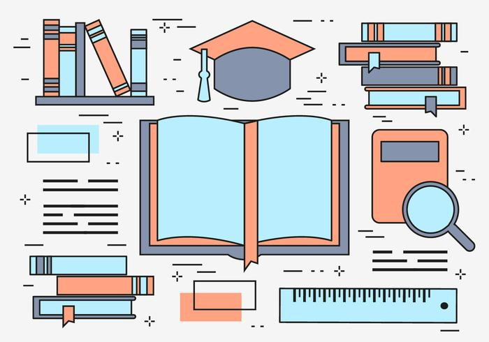 Free Flat Line Education Vector Background