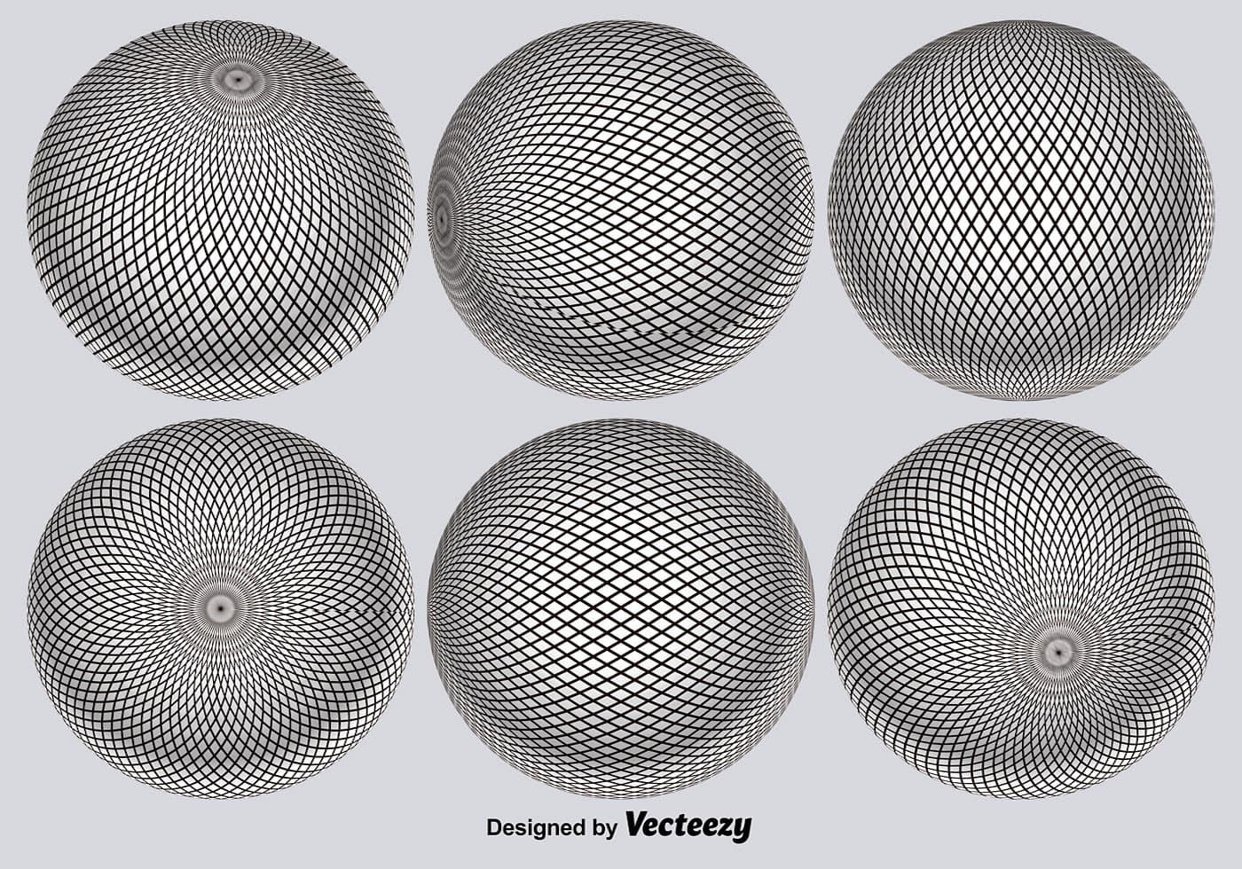 Vector 3D Globe Grid Set - Download Free Vector Art, Stock Graphics ...