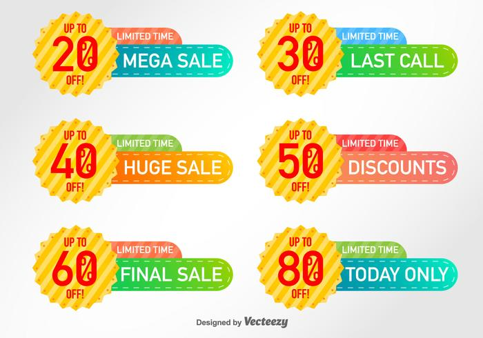 Set Of 6 Discount Labels Vector Elements