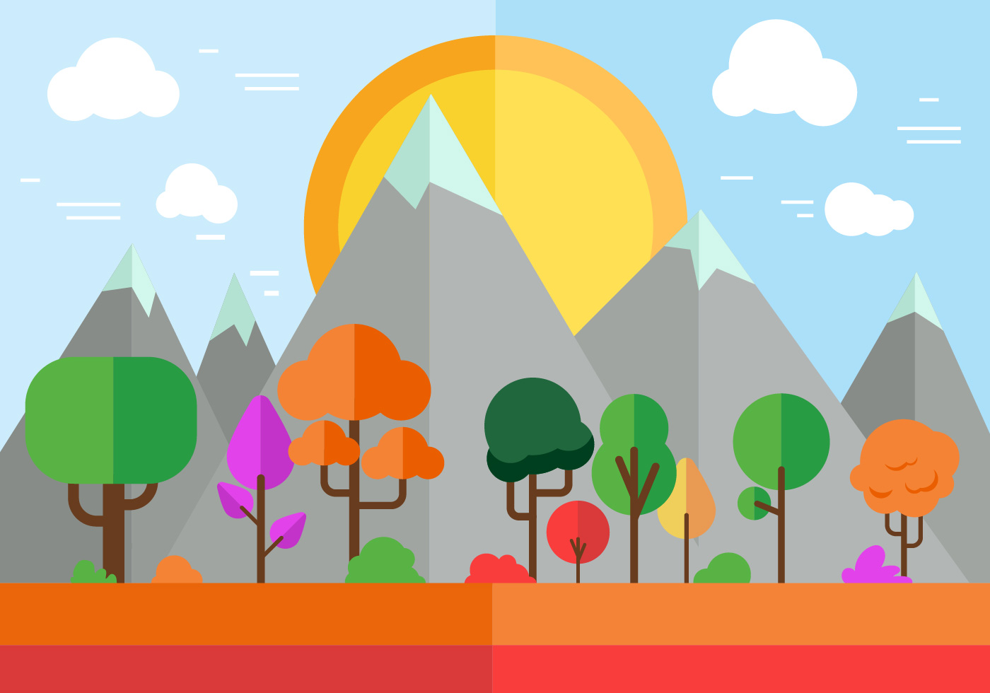 Town Landscape Vector Illustration: Free Colorful Vector Landscape