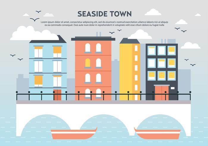 Free Flat Seaside Town Landscape Vector