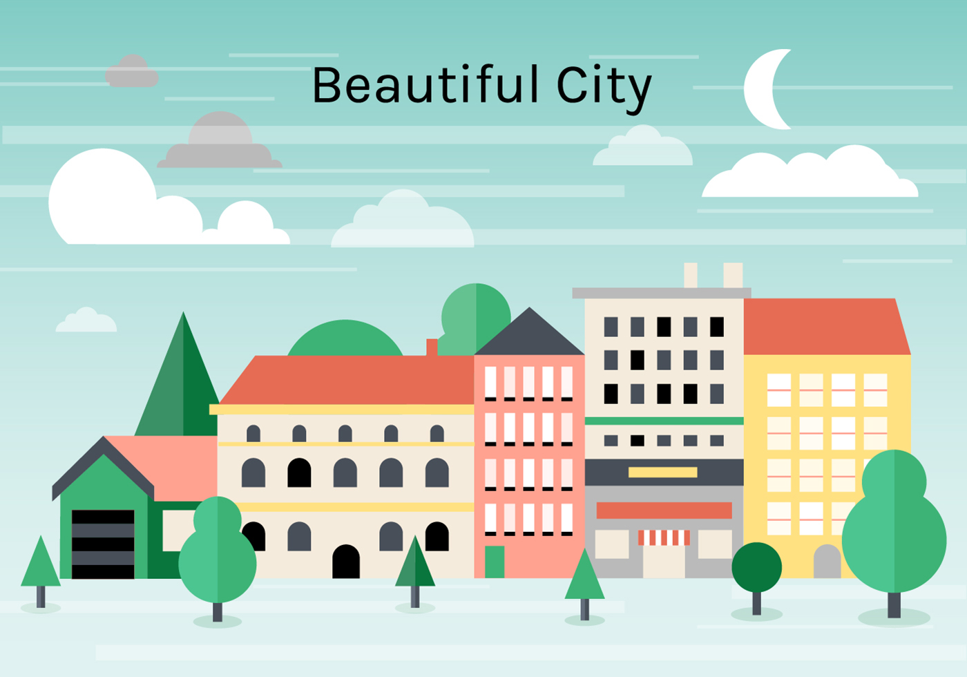 Town Landscape Vector Illustration: Free Flat Urban Landscape Vector Background