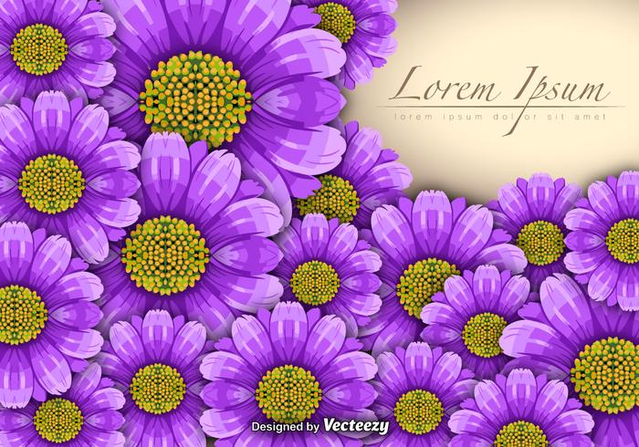 Vector Purple Flowers Background