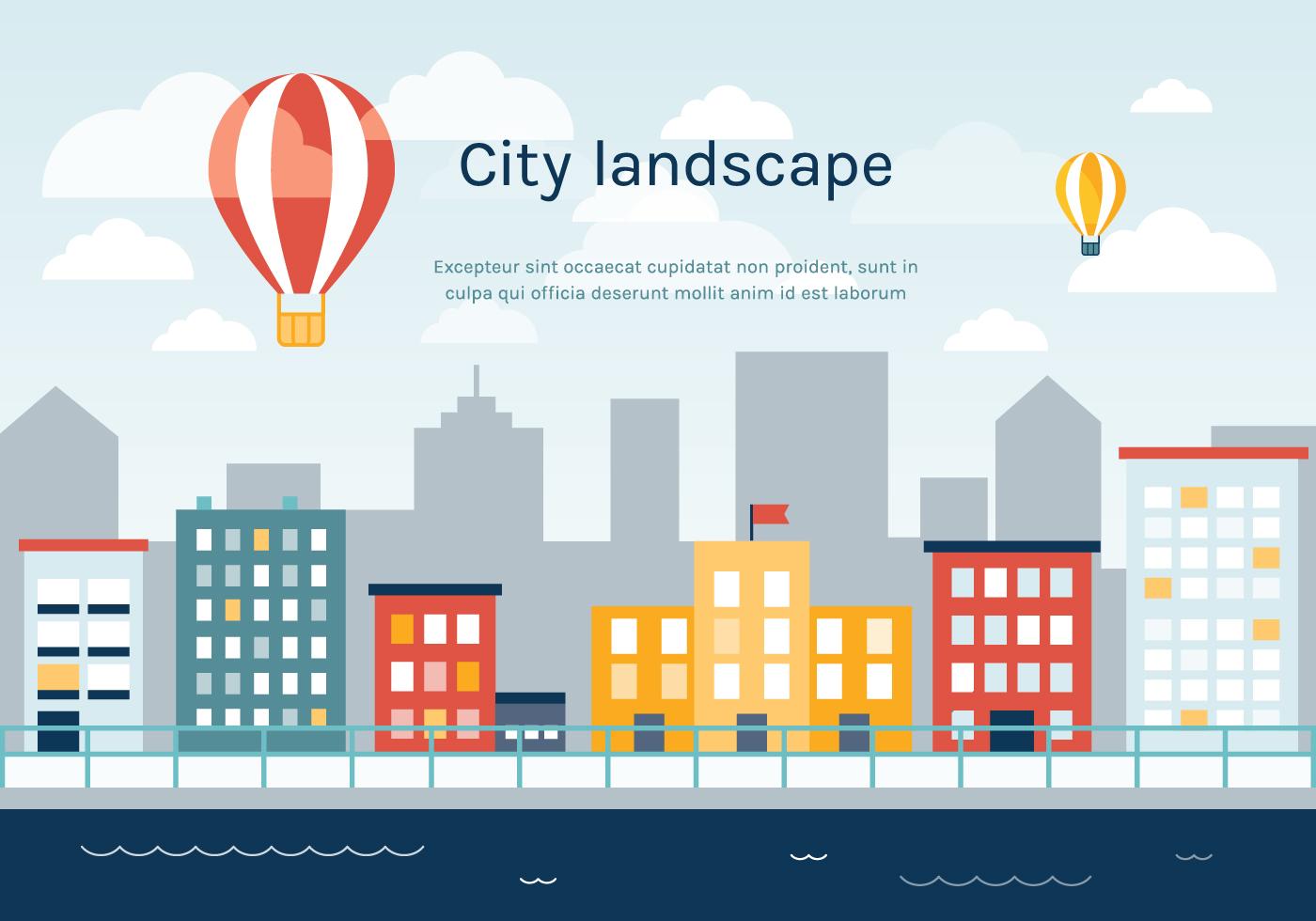 Town Landscape Vector Illustration: Flat Urban Landscape Vector Background