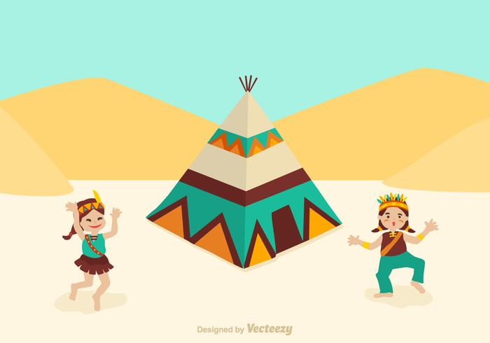Gratis American Indian Kids Dancing Vector