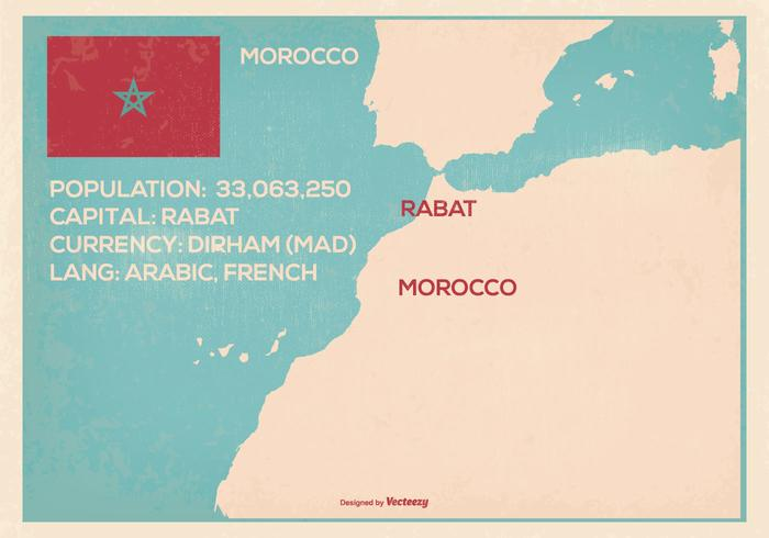 Retro stil Marocko karta illustration