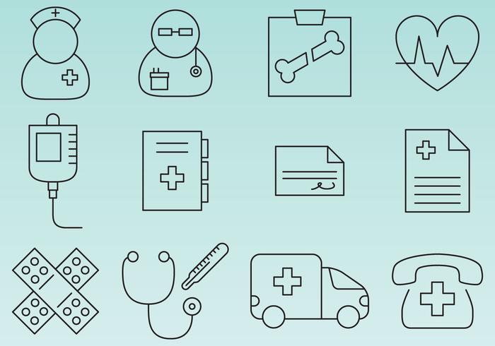 Hospital Line Icons