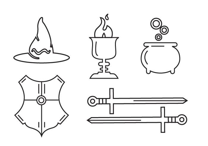 Line art set of magic tools and elements