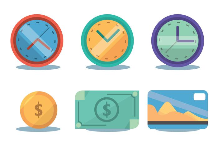 Time Zone And Money Vector Set