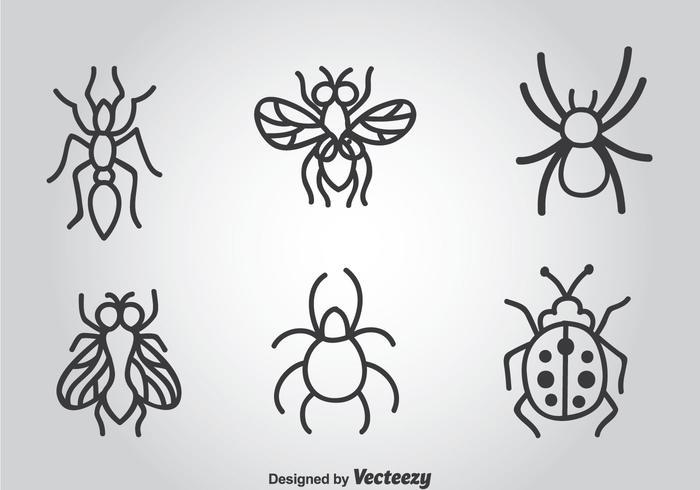 Icone disegnate a mano di vettore degli insetti
