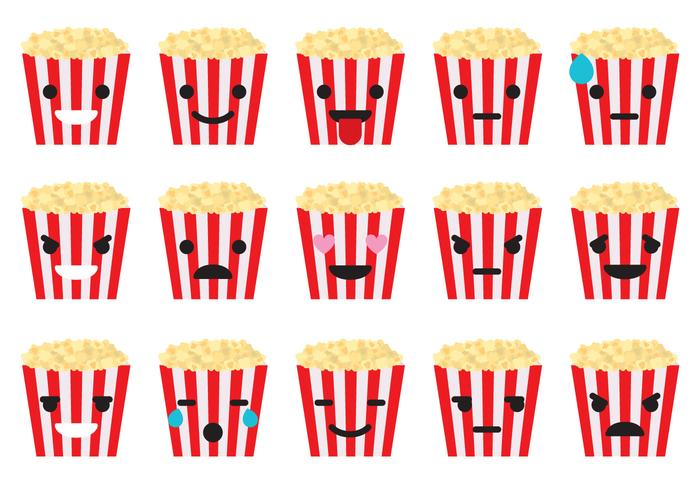 Emoticons de boîte de pop-corn vecteur