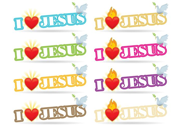 I Love Jesus Sacred Heart Vectors