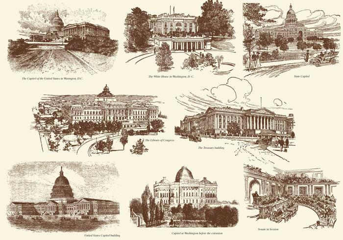 Old Style Drawing US Buildings