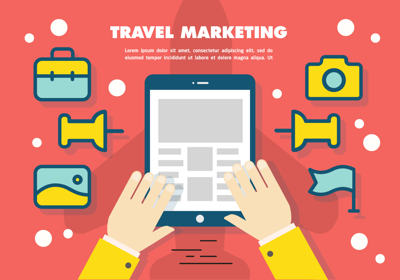 free flat travel marketing vector background