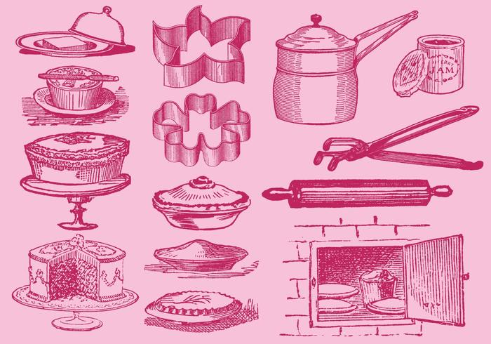 Vintage Desserts And Kitchen Tool Vectors