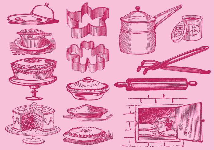 Vintage Desserts And Kitchen Tool Vectors