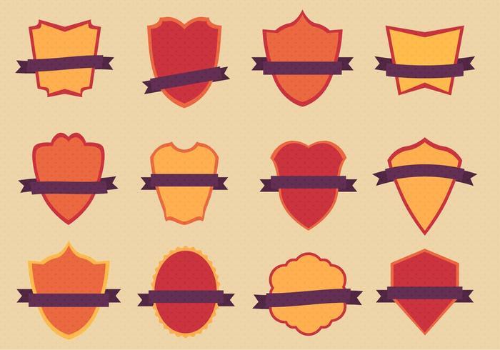 Ensemble de badges plats vectoriels gratuits vecteur
