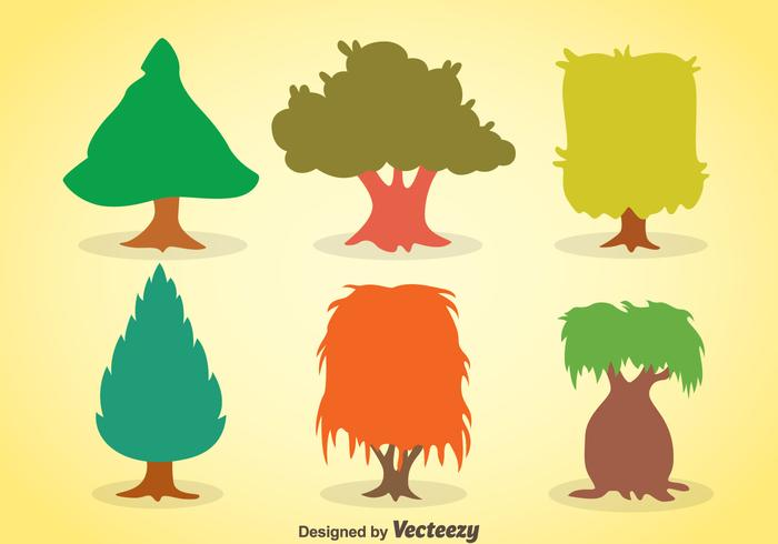 Colorful Tree Collection Vector