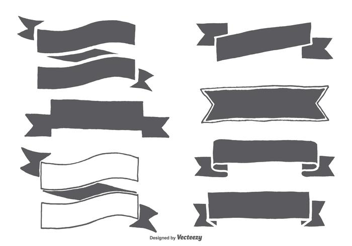 Hand Drawn Ribbon Shapes vector