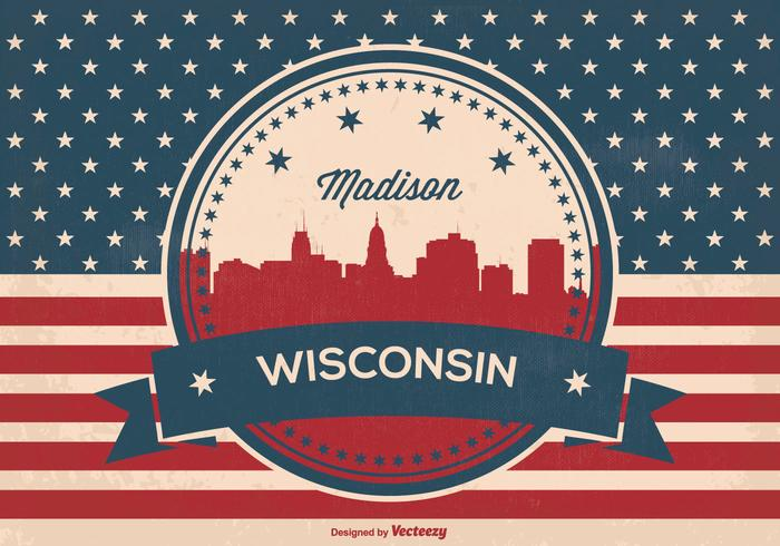 Retro Madison Wisconsin Skyline Illustration